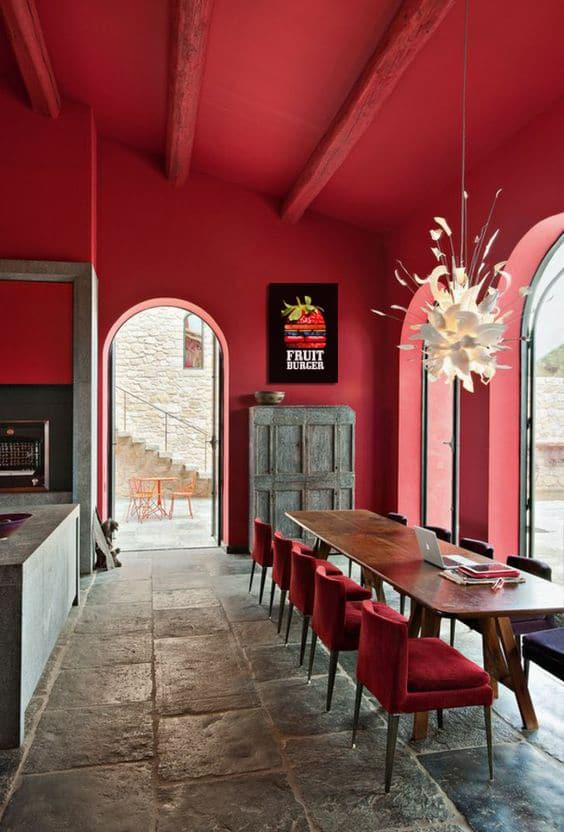decoration salle a manger rouge