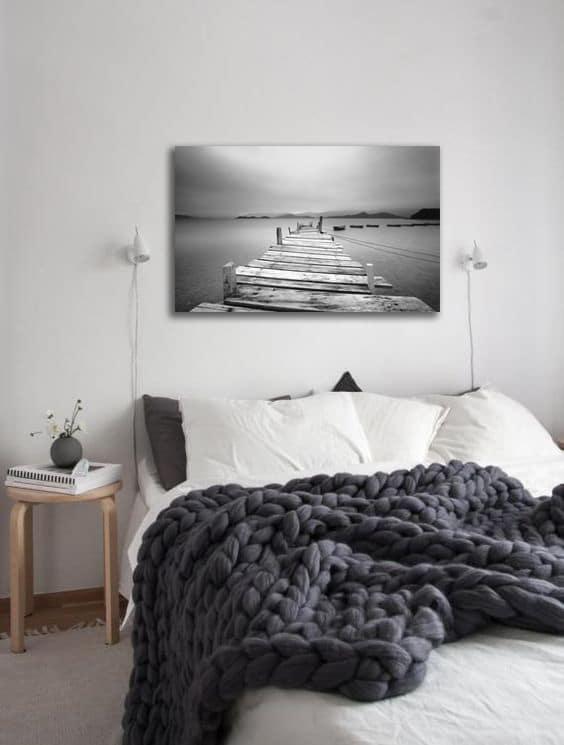 deco chambre tableau paysage noir et blanc