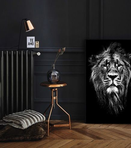 decoration murale tableau noir et blanc lion