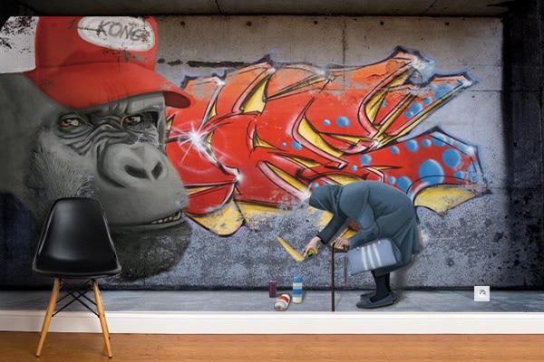 Papier peint graphique Gorille Tag Izoa