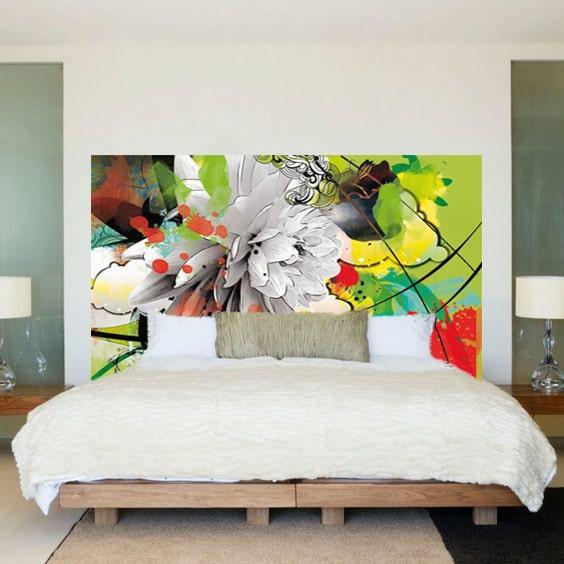 un papier peint en guise de t te de lit. Black Bedroom Furniture Sets. Home Design Ideas