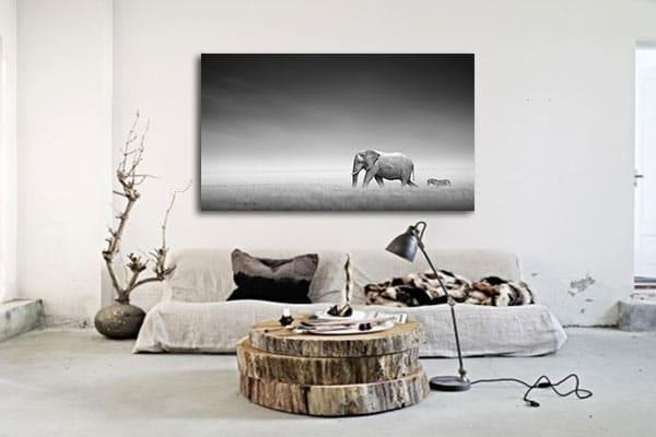 decoration murale animale toile noir et blanc