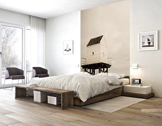 un papier peint en guise de t te de lit blog toile design et moderne d 39 izoa. Black Bedroom Furniture Sets. Home Design Ideas