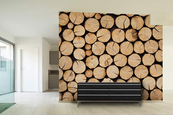 poster mural rondins bois buches
