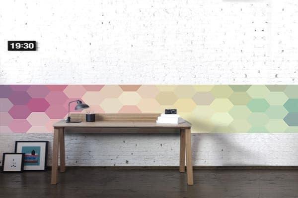 frise murale design rose poudré