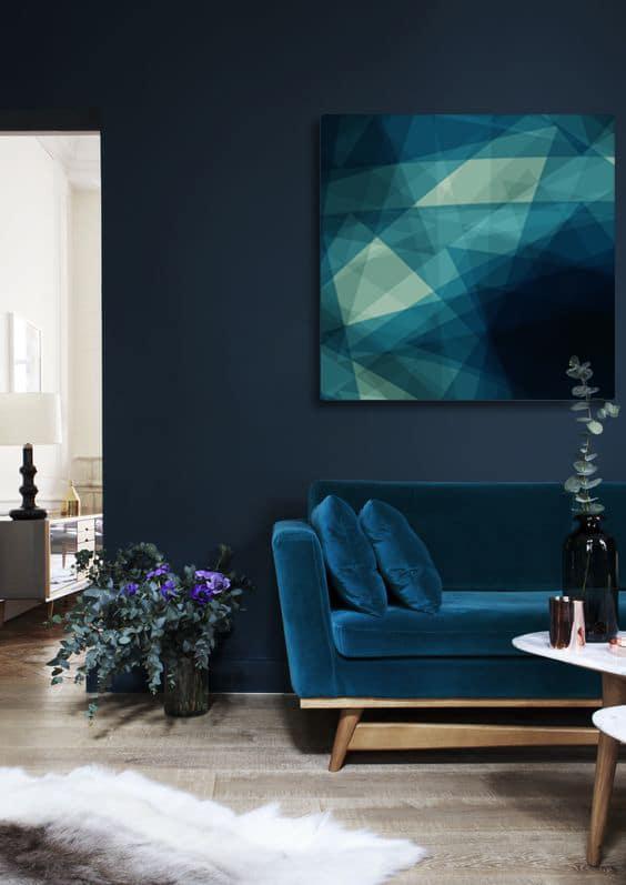 salon déco bleu marine toile déco abstrait