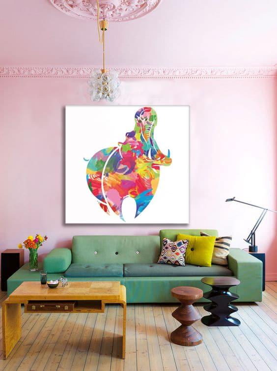 salon rose poudré toile déco colorée