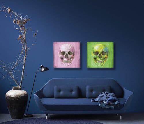 tableau diptyque contemporain tete de mort