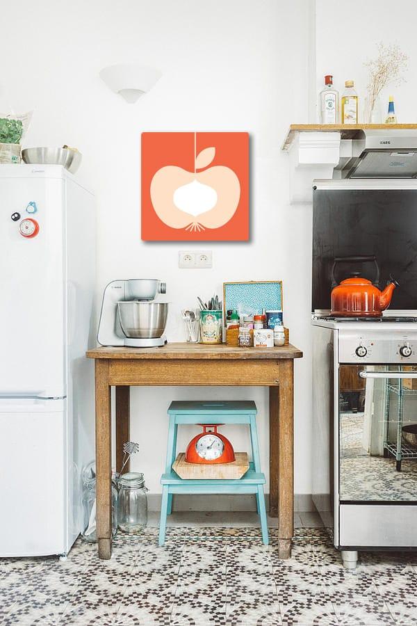 toile déco vintage pour cuisine pomme retro