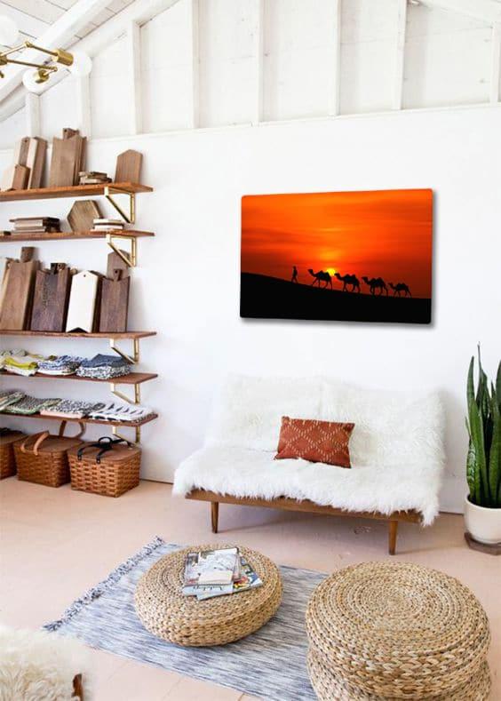 toile murale desert chameau