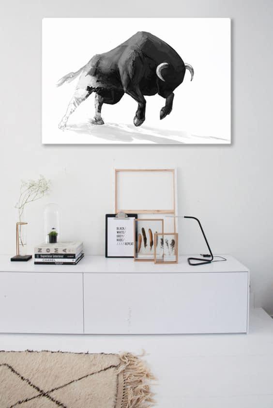 Déco minimaliste tableau moderne taureau noir et blanc