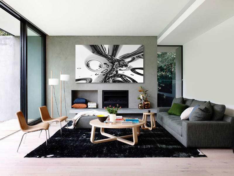 Tableau design abstrait gris métal