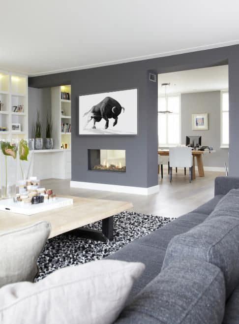Toile déco taureau noir et blanc minimaliste