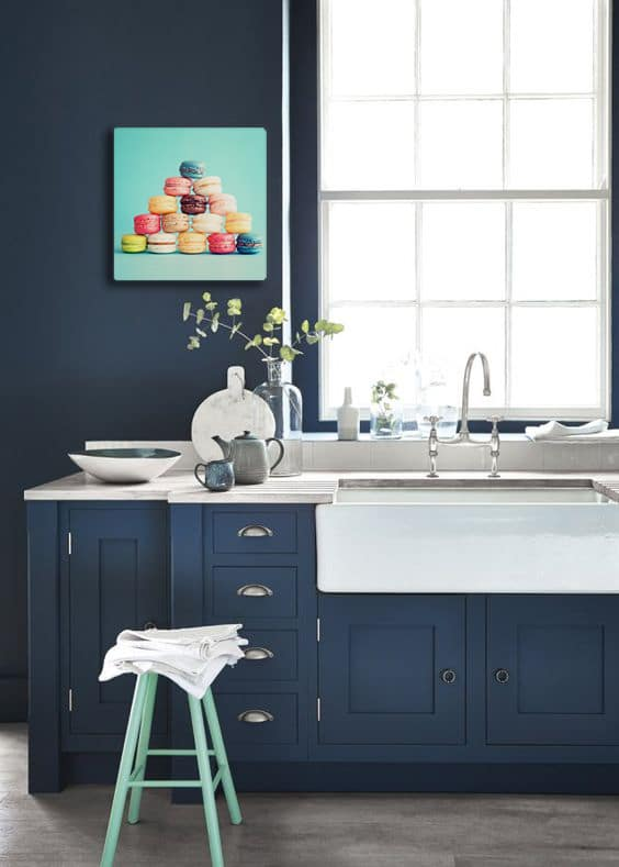 Cuisine design bleu