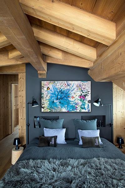 Tableau de fleur design déco chambre bleue