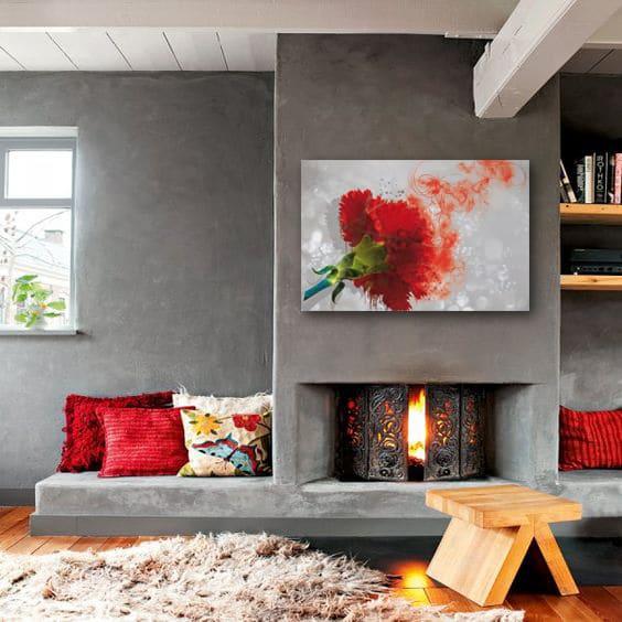Décoration murale toile déco fleur rouge