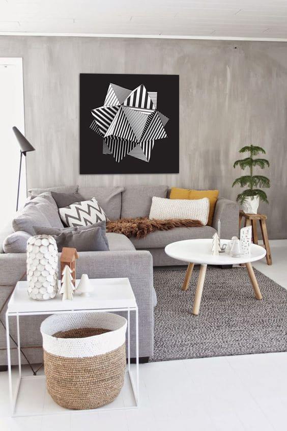 Tableau design géométrique noir et blanc Izoa