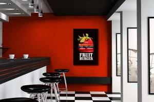 décoration murale cuisine rouge