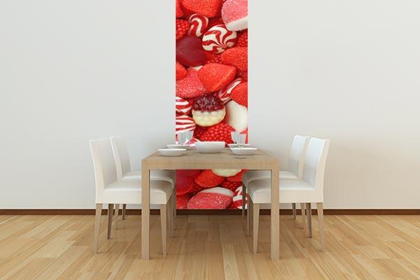 Papier peint cuisine rouge bonbons