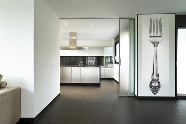 décoration murale cuisine design grise