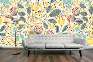 papier peint scandinave fleurs jaunes