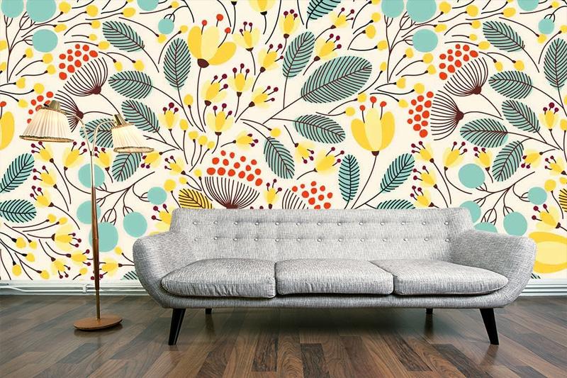 papier peint mural scandinave jaune