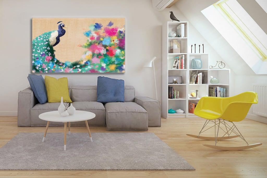 tableau coloré Paon fleuri