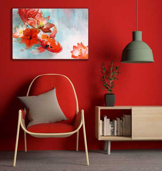 tableau decoratif carpe rouge