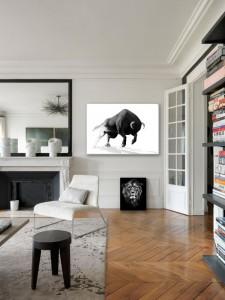 tableau noir et blanc taureau