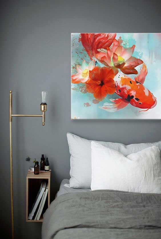 toile imprimee zen carpe rouge chambre grise