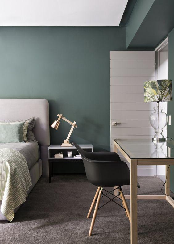 déco mur chambre vert de gris