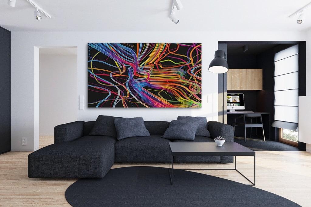 quel cadre d co au dessus d un canap noir. Black Bedroom Furniture Sets. Home Design Ideas