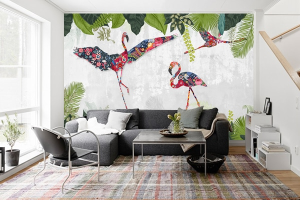 papier peint mural flamenco patchwork nouveaut de la semaine blog izoa. Black Bedroom Furniture Sets. Home Design Ideas