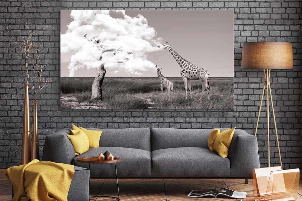 decoration-salon-design-tableau-africain-girafe