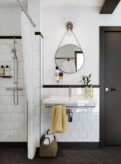 décoration salle de bain originale miroir rond
