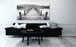 cadre déco paysage noir et blanc