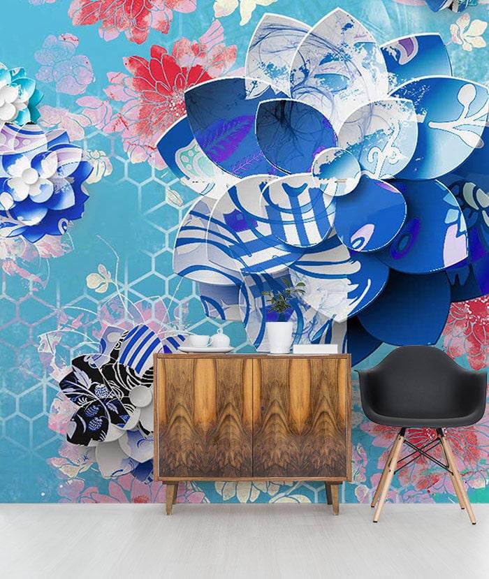papier-peint-graphique-bleu-zen