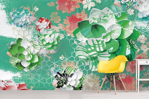 papier-peint-graphique-lotus-vert