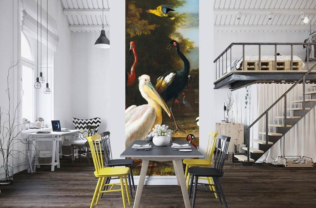 papier-peint-romantique-dans-salle-manger-moderne