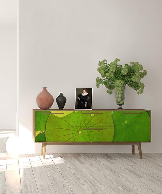 Customisation meuble papier peint vert