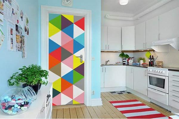sticker de porte design formes géométriques