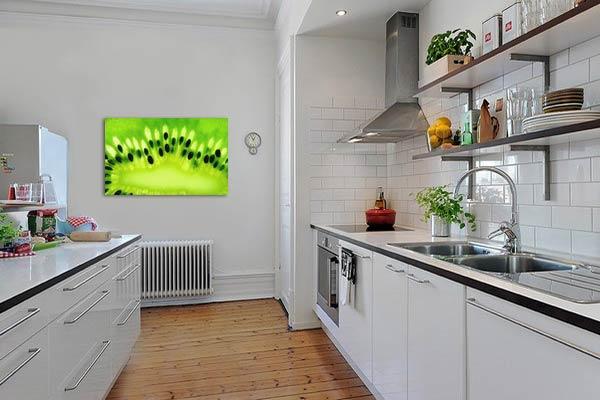 tableau coloré vert kiwi pour cuisine moderne