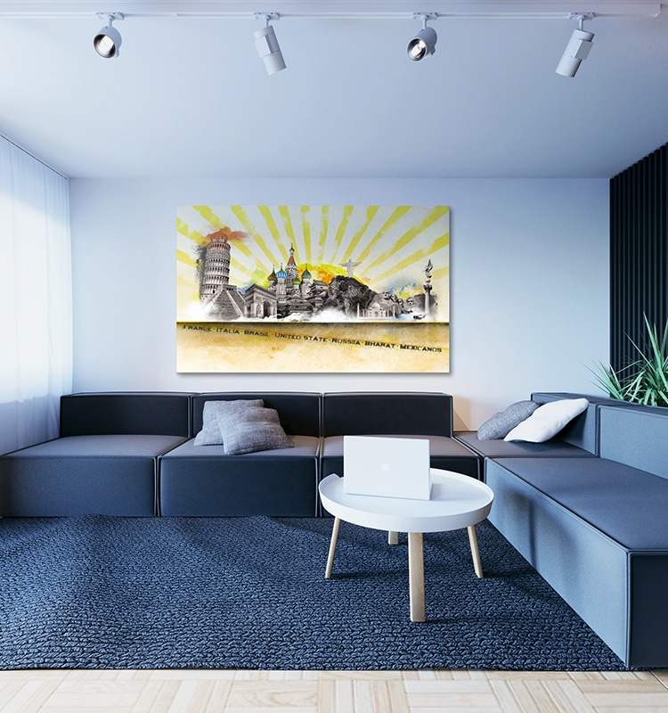 quel cadre d co au dessus d un canap noir blog izoa. Black Bedroom Furniture Sets. Home Design Ideas