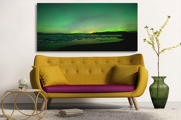 tableau paysage aurore polaire vert