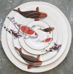 assiettes illustration poissons