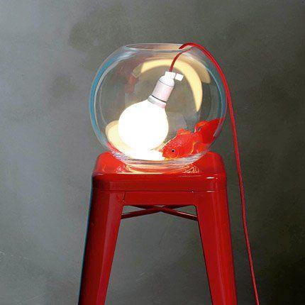 luminaire design originale poisson rouge