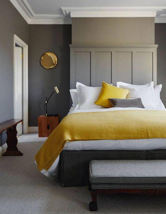 déco chambre minimaliste touche de jaune