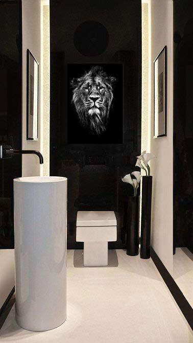 deco-wc-contemporain-tableau-noir-et-blanc-lion