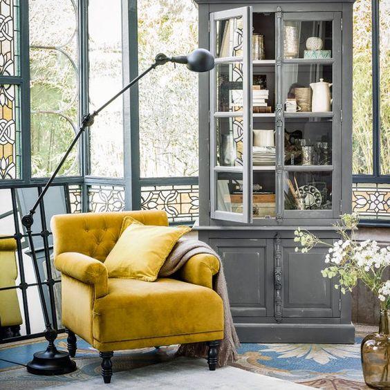 décoration classique chic jaune et gris
