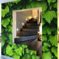 papier-peint-trompe-oeil-feuilles-vertes